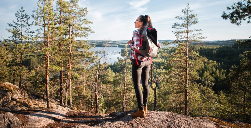 Woman on hike at neitvuori hill