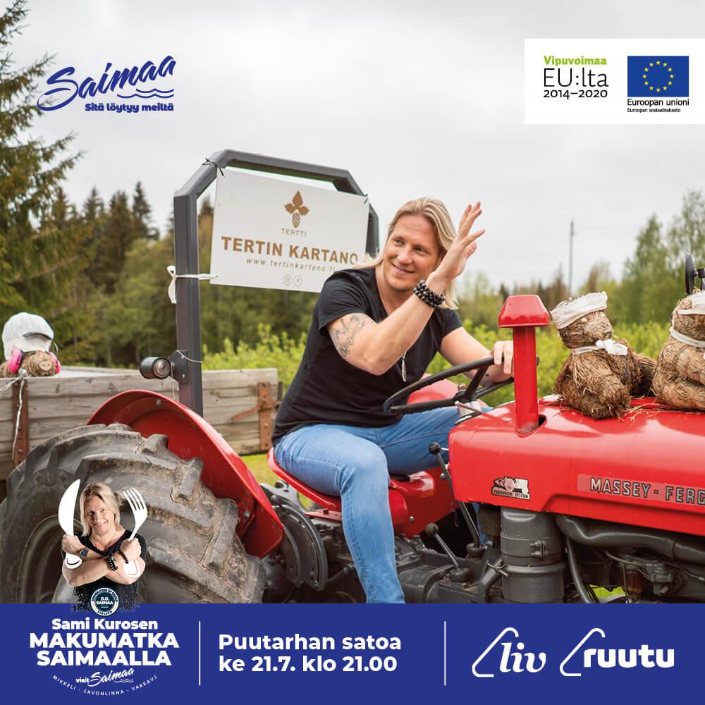 Sami Kuronen traktorin ratissa.